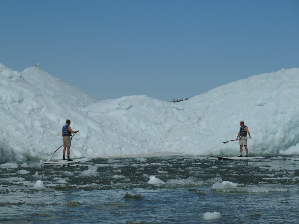 Your humble Innkeeper & a friend paddling among Peninsula Park's bergs shortly after the thaw last May