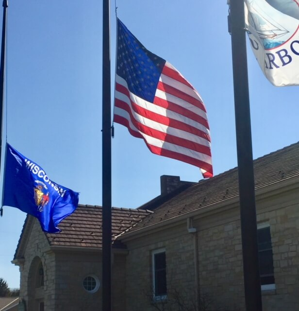 Flags in front of Baileys Harbor townhall