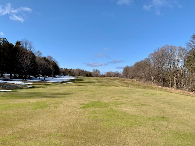 The fairway at Peninsula Park Golf Course waits patiently for spring.