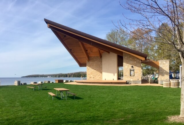 The stage and lawn at Waterfront Park in Sister Bay are ready to be filled with swinging music and dancing feet.